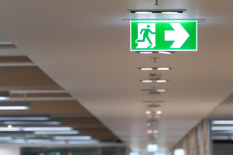 Exit light inside building